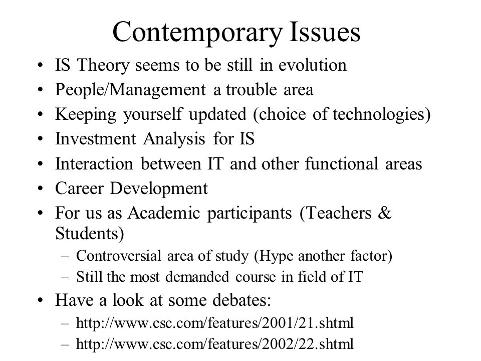 Contemporary Issues IS Theory seems to be still in evolution