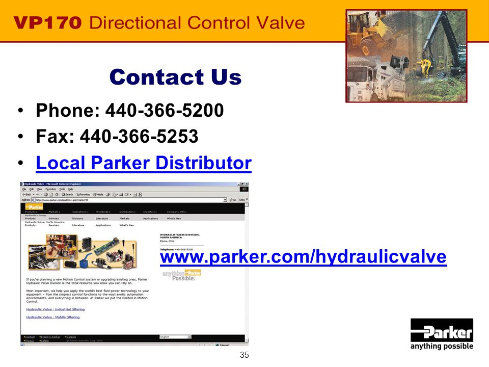 Parker, your single source for all your Hydraulic Valve Solutions.