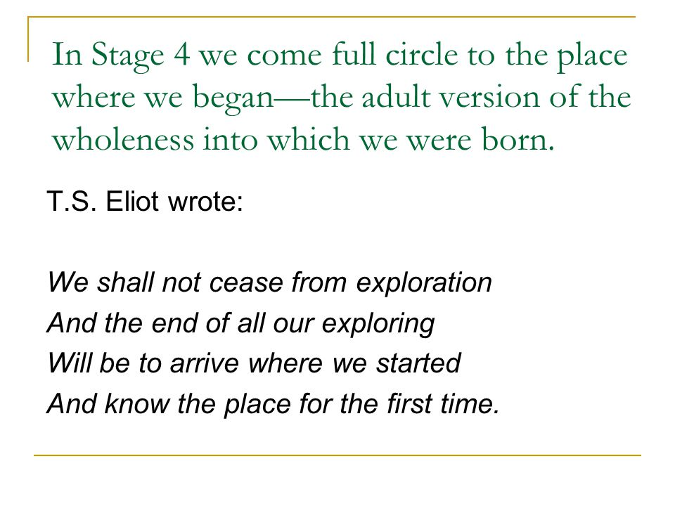 In Stage 4 we come full circle to the place where we began—the adult version of the wholeness into which we were born.