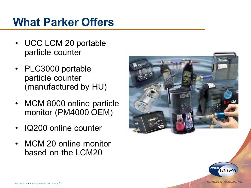 What Parker Offers UCC LCM 20 portable particle counter