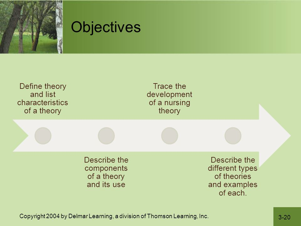 Objectives Define theory and list characteristics of a theory