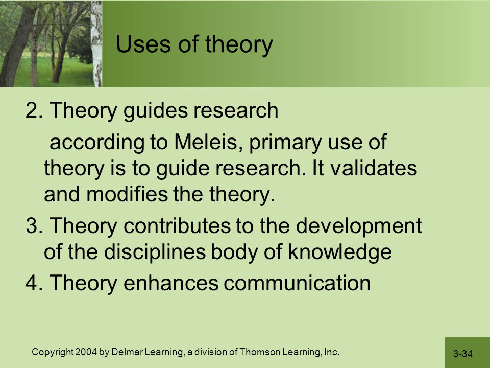 Uses of theory 2. Theory guides research