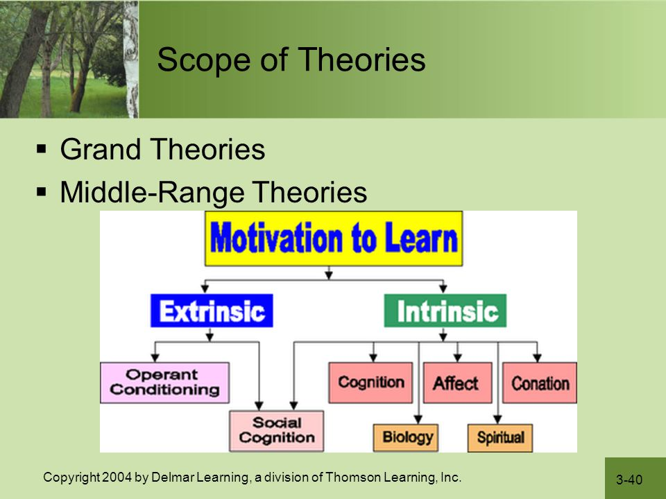 Scope of Theories Grand Theories Middle-Range Theories