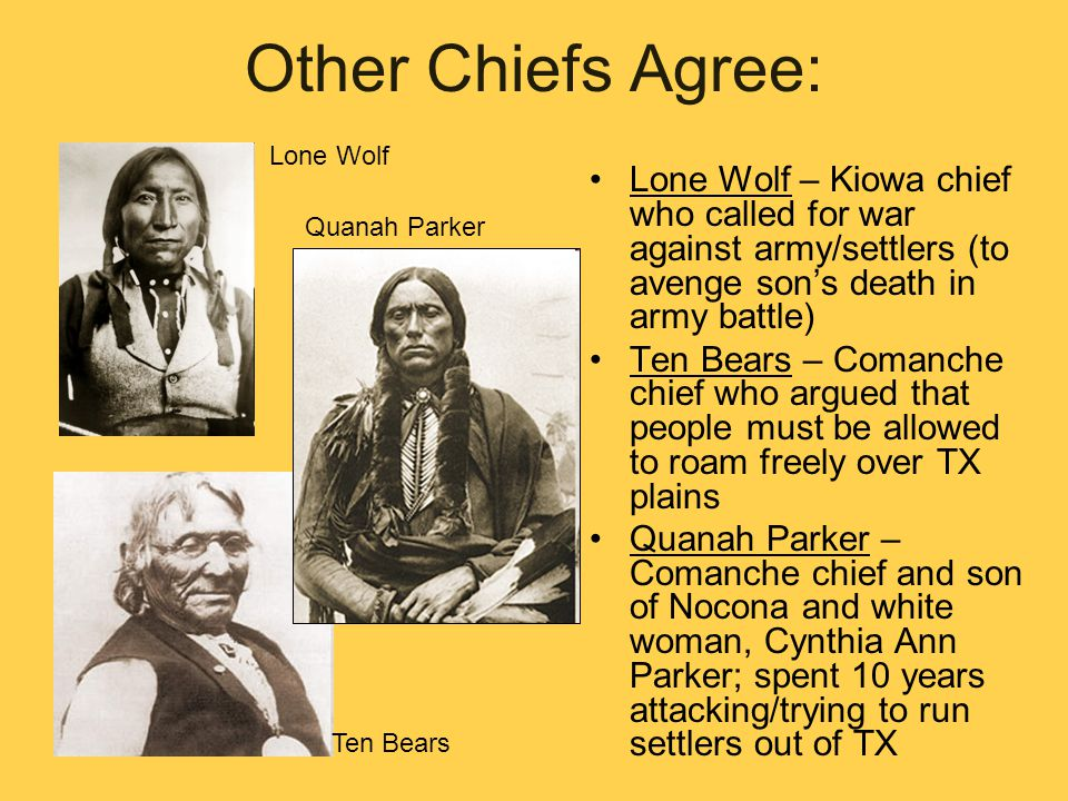 Other Chiefs Agree: Lone Wolf. Lone Wolf – Kiowa chief who called for war against army/settlers (to avenge son's death in army battle)