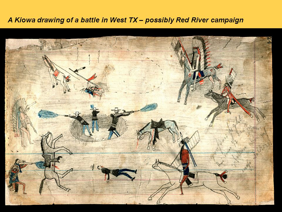 A Kiowa drawing of a battle in West TX – possibly Red River campaign