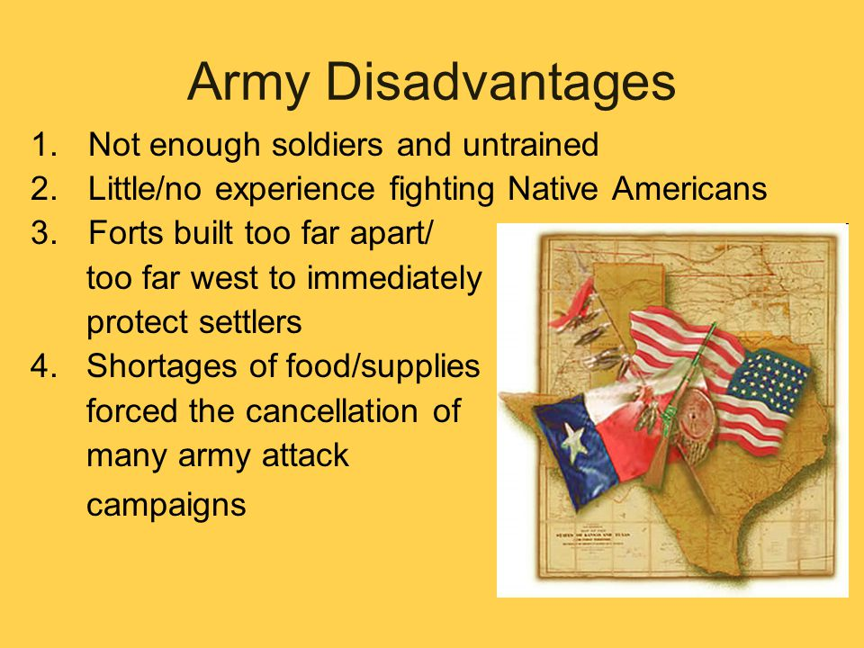 Army Disadvantages Not enough soldiers and untrained