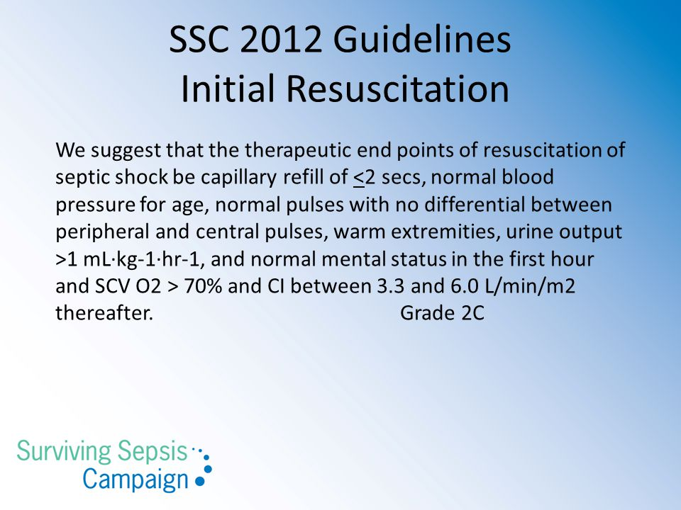 SSC 2012 Guidelines Initial Resuscitation