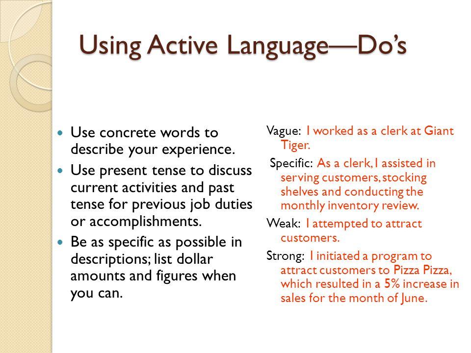 Using Active Language—Do's
