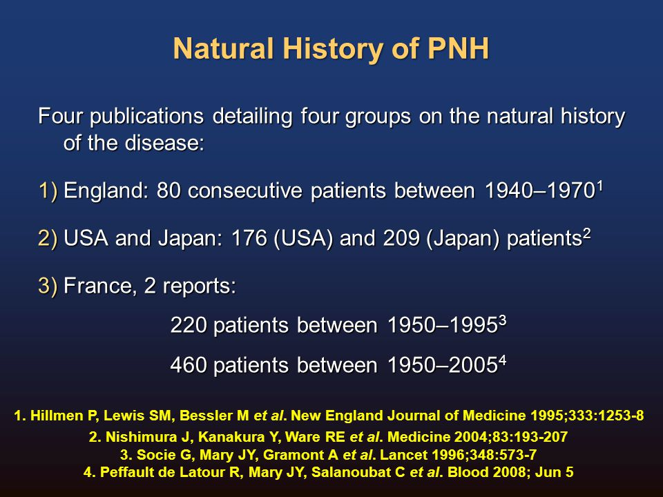 Natural History of PNH Four publications detailing four groups on the natural history of the disease: