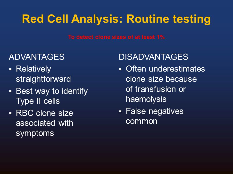 Red Cell Analysis: Routine testing