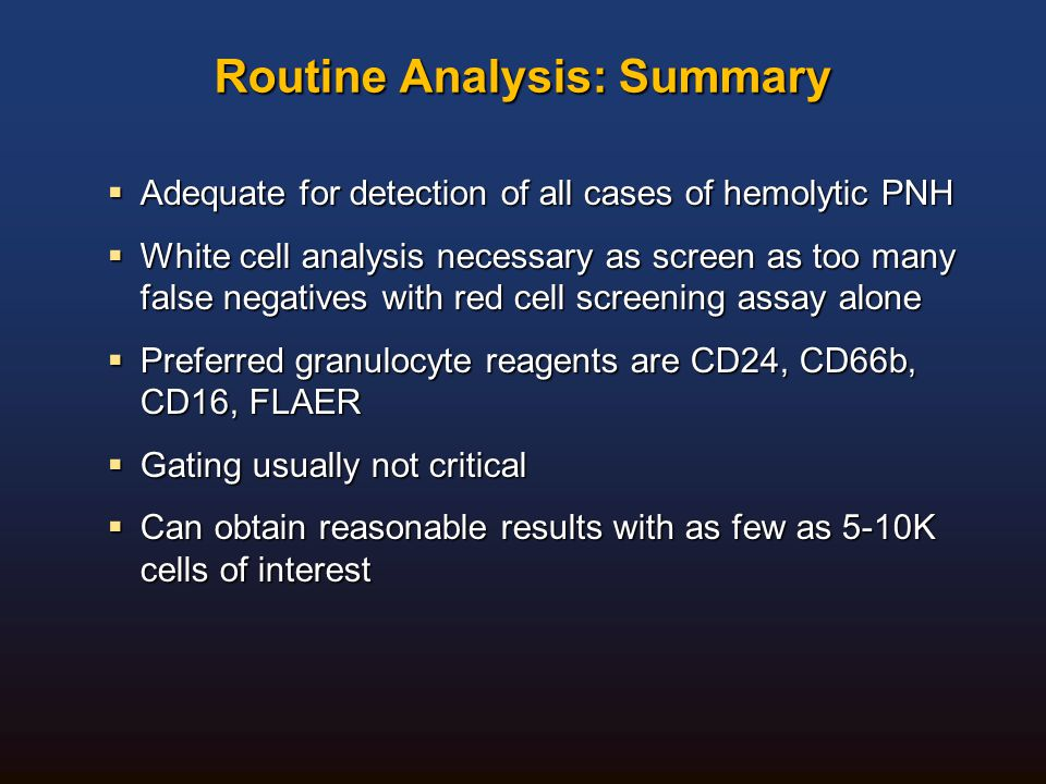 Routine Analysis: Summary