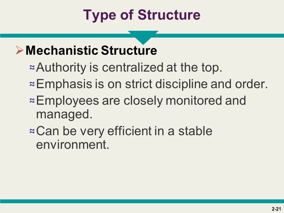 Type of Structure Mechanistic Structure