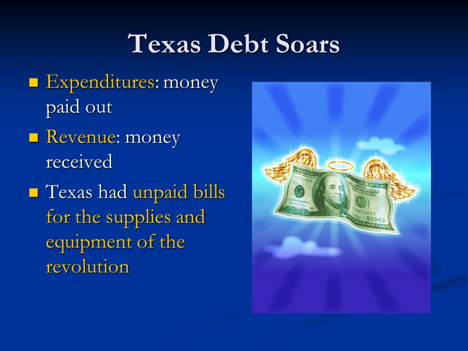 Texas Debt Soars Expenditures: money paid out Revenue: money received