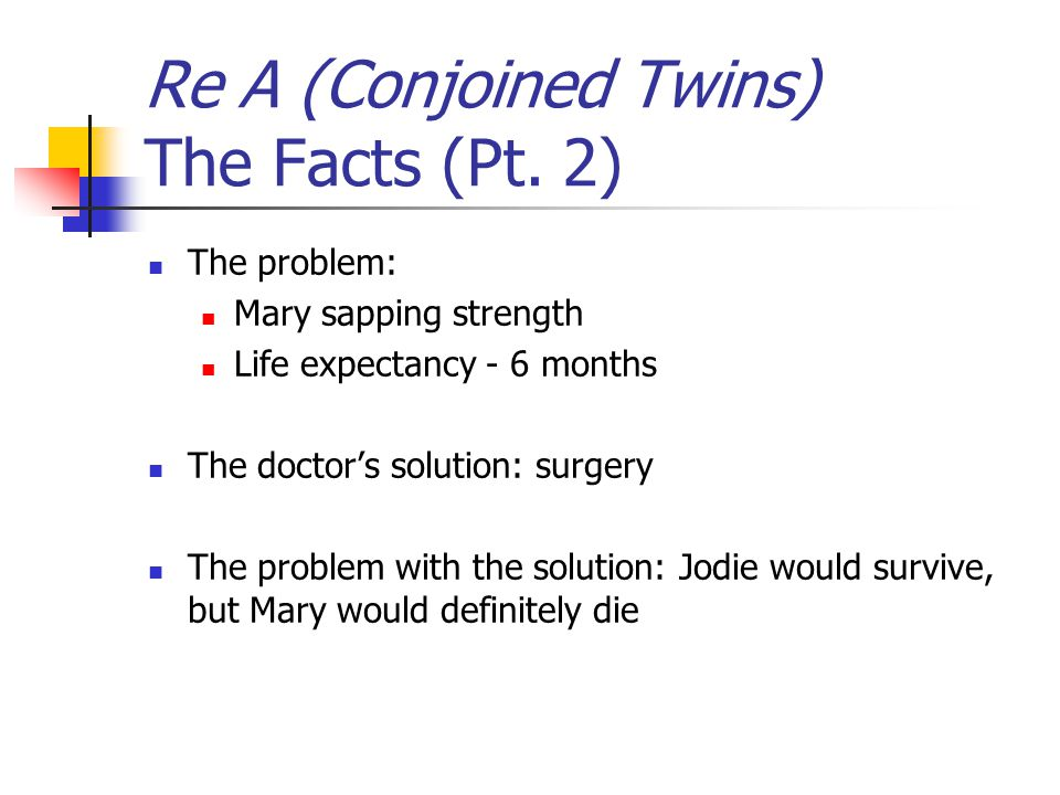 Re A (Conjoined Twins) The Facts (Pt. 2)