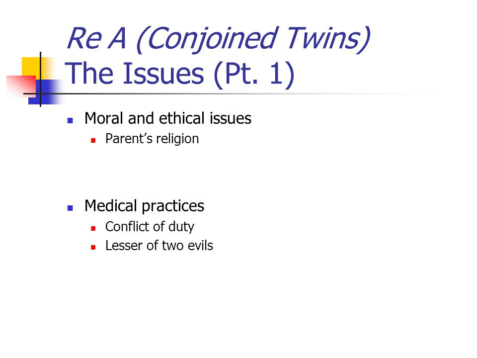 Re A (Conjoined Twins) The Issues (Pt. 1)
