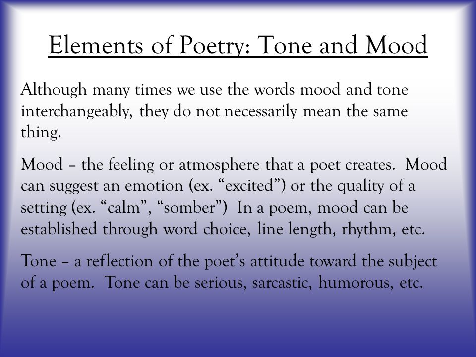 Elements of Poetry: Tone and Mood