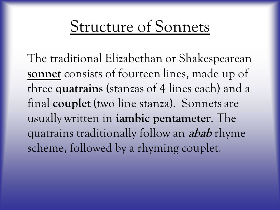 Structure of Sonnets