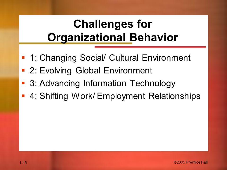 Challenges for Organizational Behavior