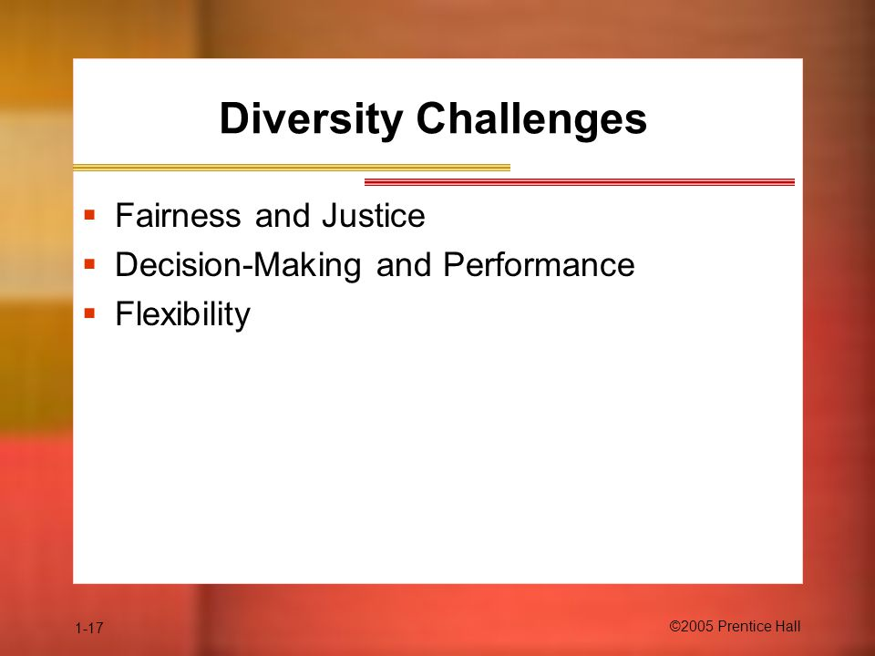 Diversity Challenges Fairness and Justice