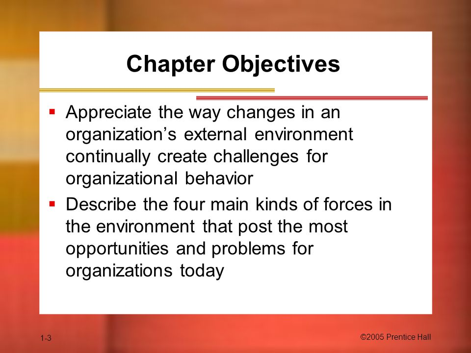 Chapter Objectives Appreciate the way changes in an organization's external environment continually create challenges for organizational behavior.