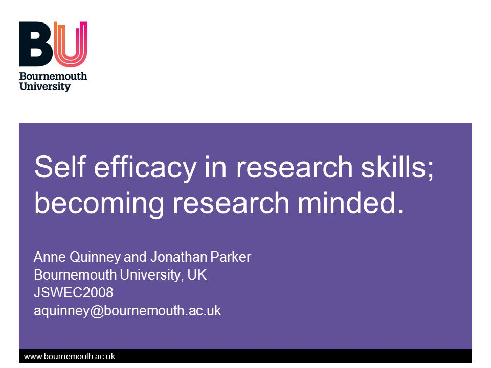 Self efficacy in research skills; becoming research minded.