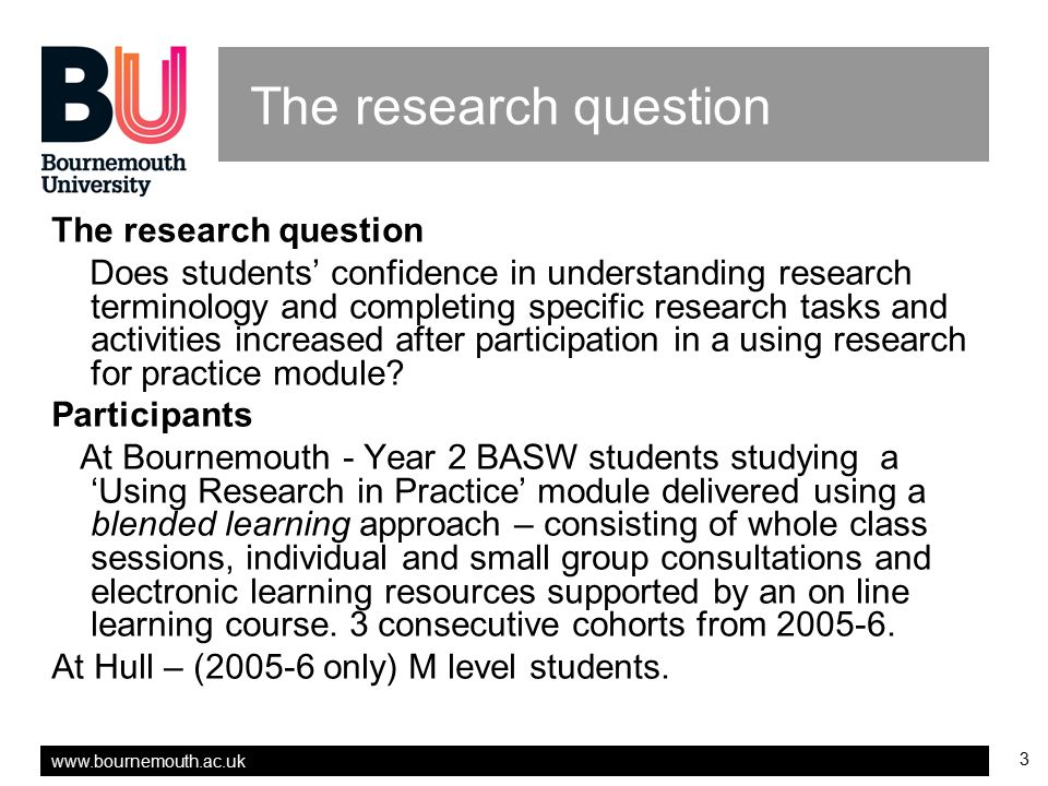 The research question The research question