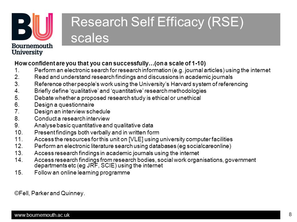 Research Self Efficacy (RSE) scales