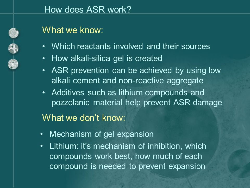 How does ASR work What we know: What we don't know: