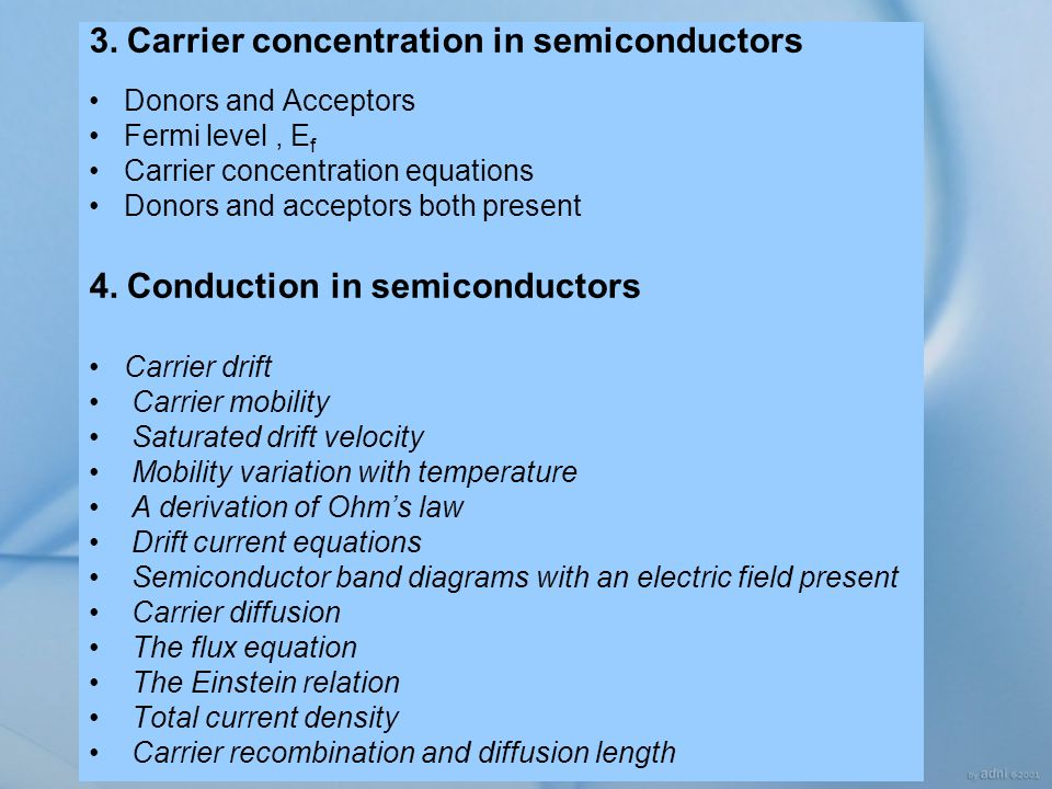 3. Carrier concentration in semiconductors