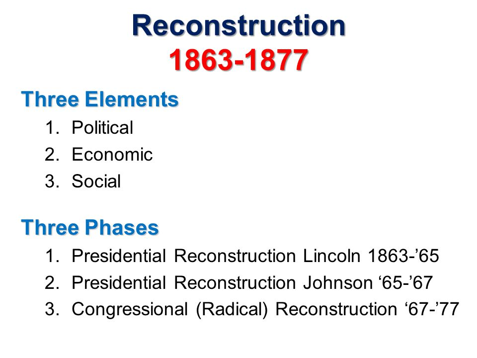 Reconstruction 1863-1877 Three Elements Three Phases Political