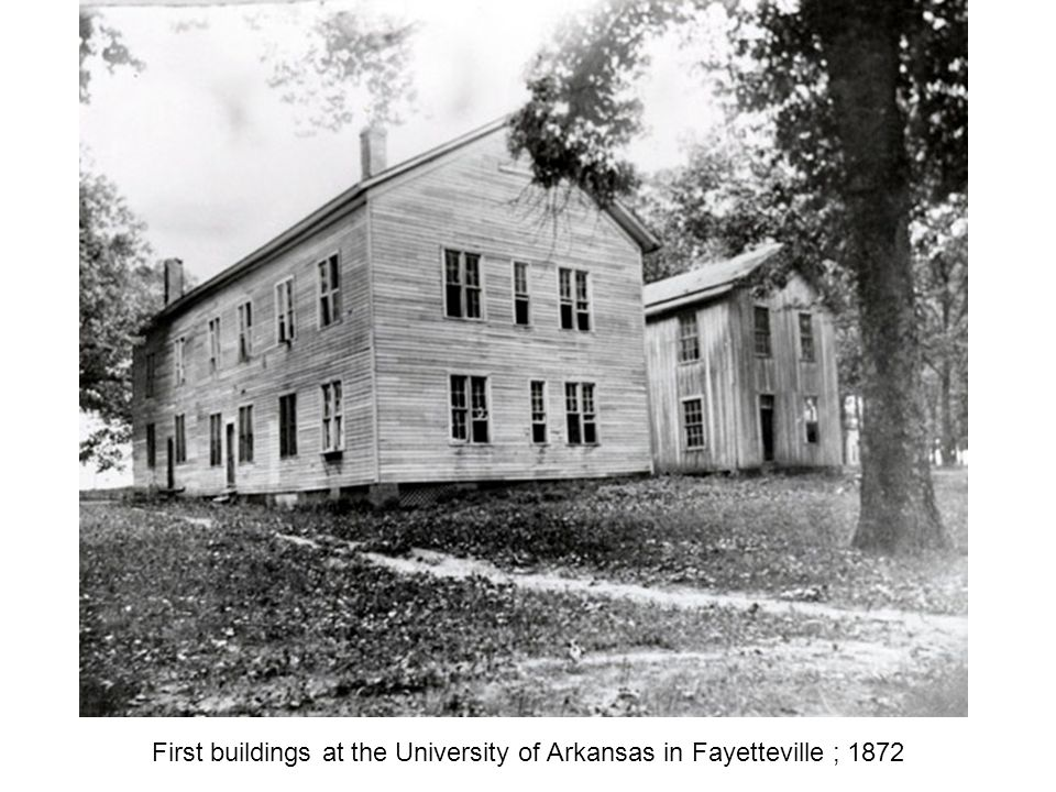 First buildings at the University of Arkansas in Fayetteville ; 1872