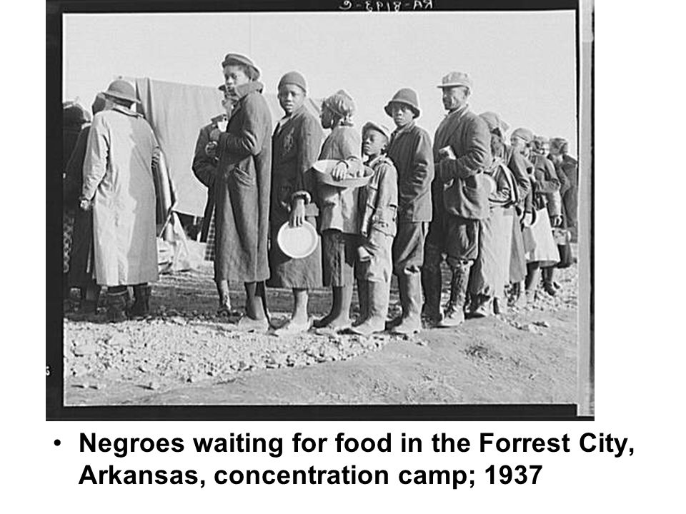 Negroes waiting for food in the Forrest City, Arkansas, concentration camp; 1937