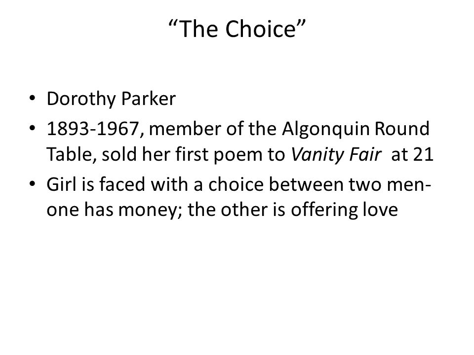 The Choice Dorothy Parker