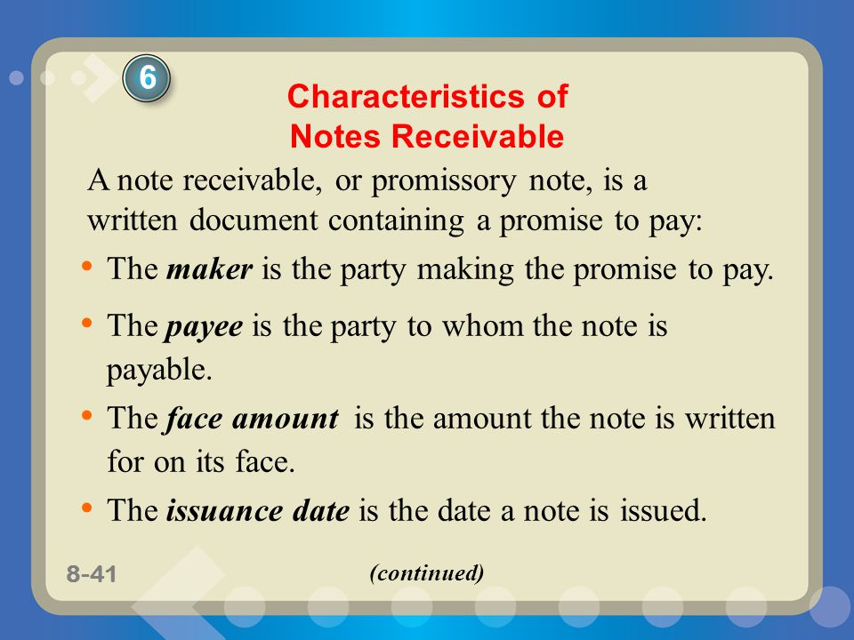 Characteristics of Notes Receivable
