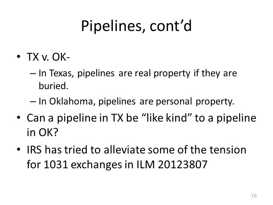 Pipelines, cont'd TX v. OK-