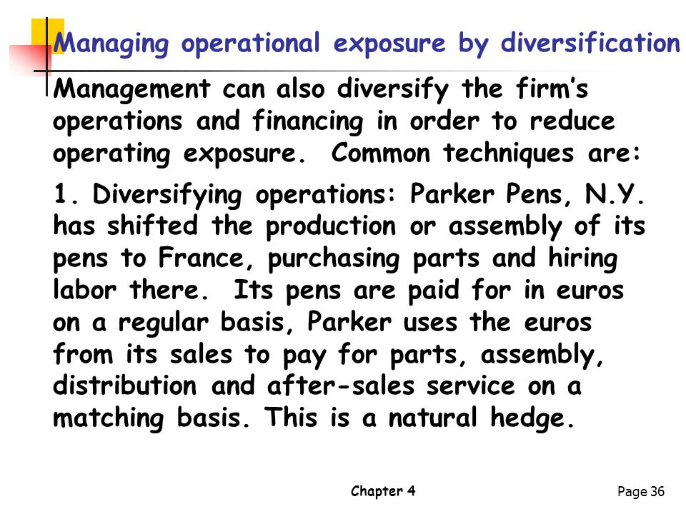 Managing operational exposure by diversification