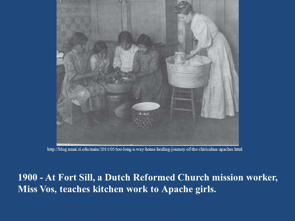 1900 - At Fort Sill, a Dutch Reformed Church mission worker,