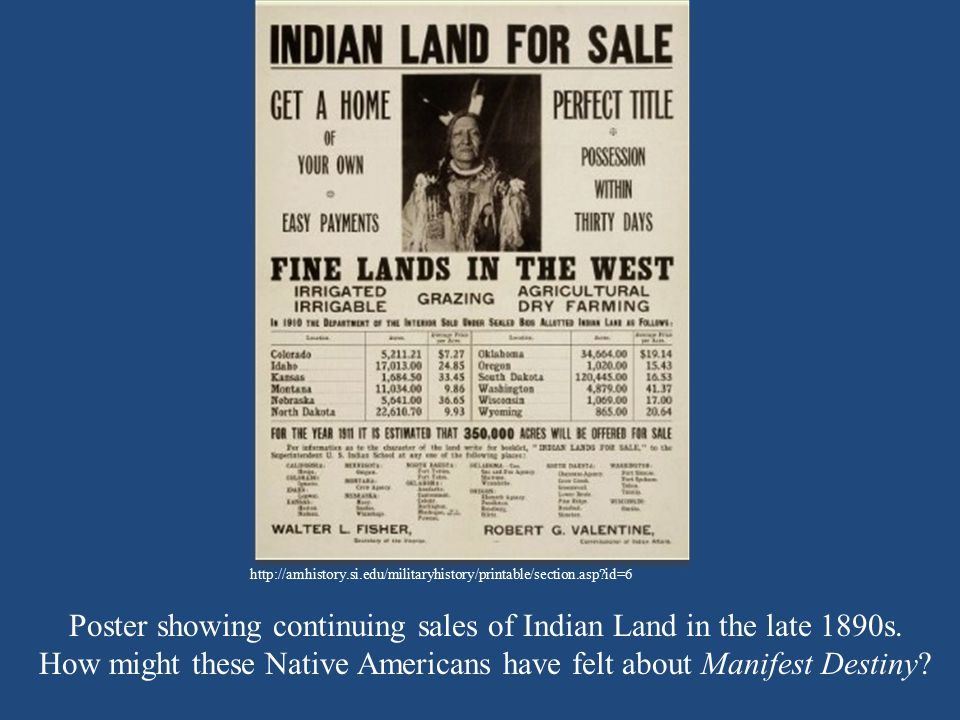 Poster showing continuing sales of Indian Land in the late 1890s.