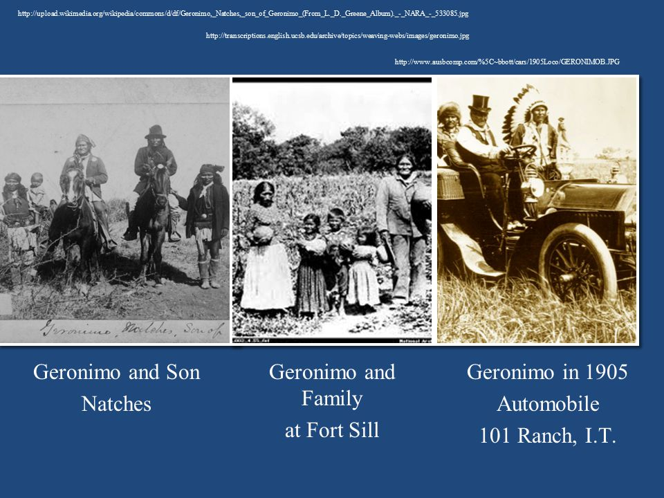 Geronimo and Son Natches Geronimo and Family at Fort Sill