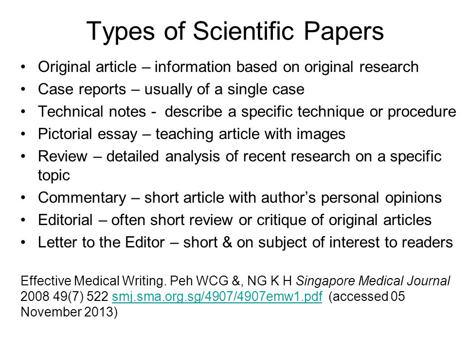 types of a research paper Steps in writing a research paper finding sources it will be most helpful if you have a clear idea about your topic before you begin this type of research.