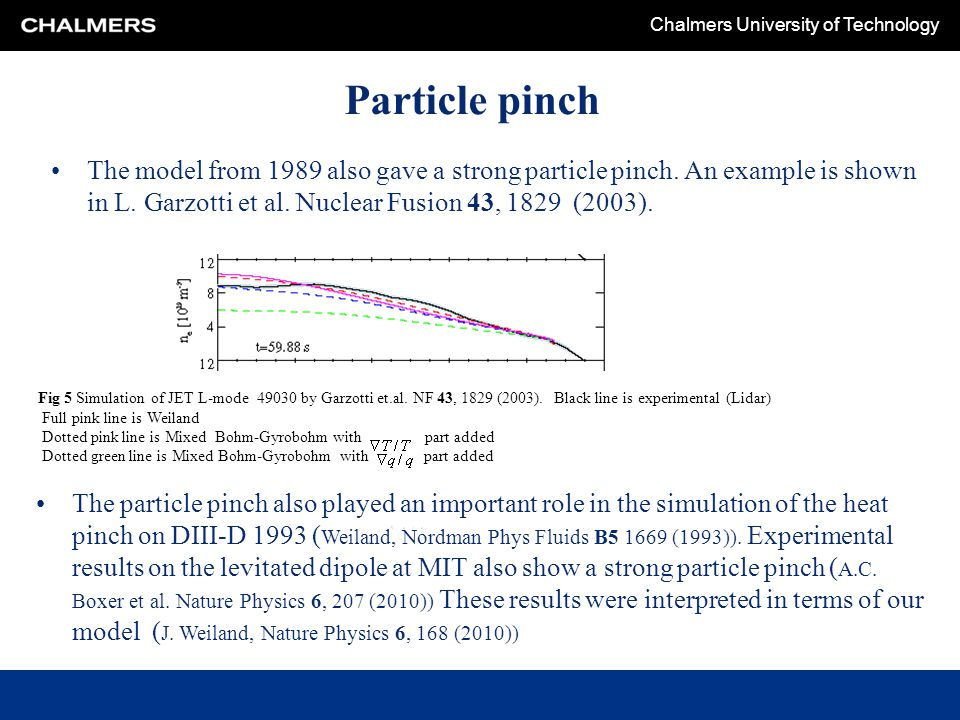 Particle pinch The model from 1989 also gave a strong particle pinch. An example is shown in L. Garzotti et al. Nuclear Fusion 43, 1829 (2003).