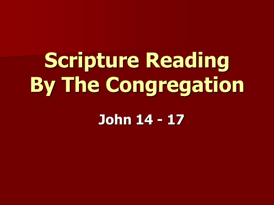 Scripture Reading By The Congregation