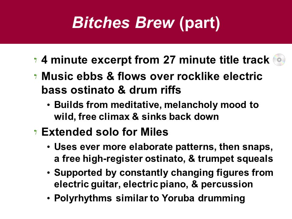 Bitches Brew (part) 4 minute excerpt from 27 minute title track