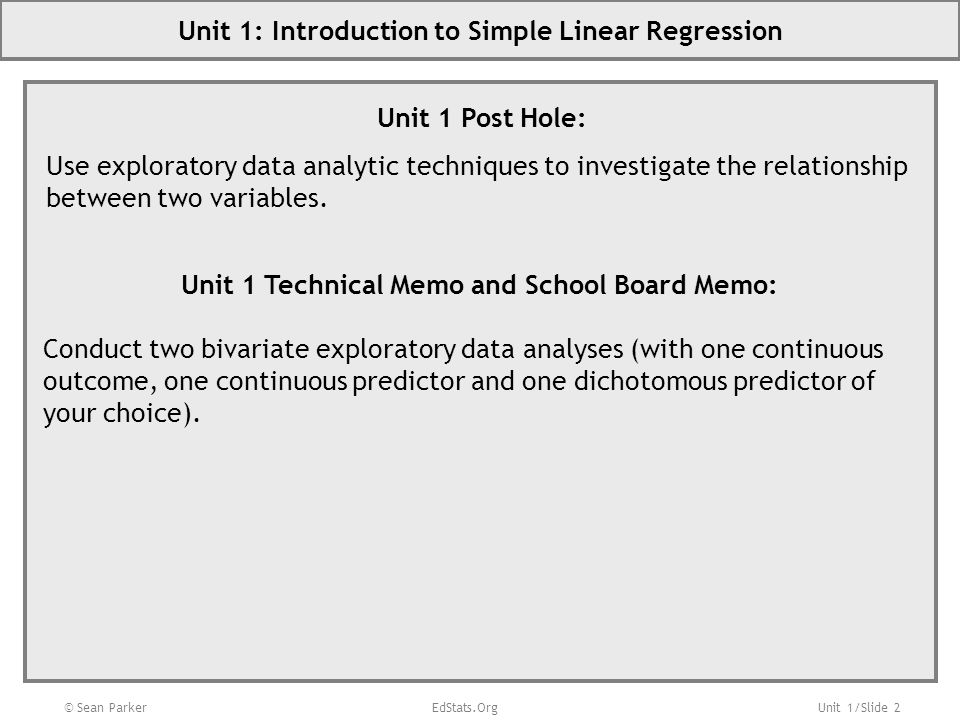 Unit 1: Introduction to Simple Linear Regression