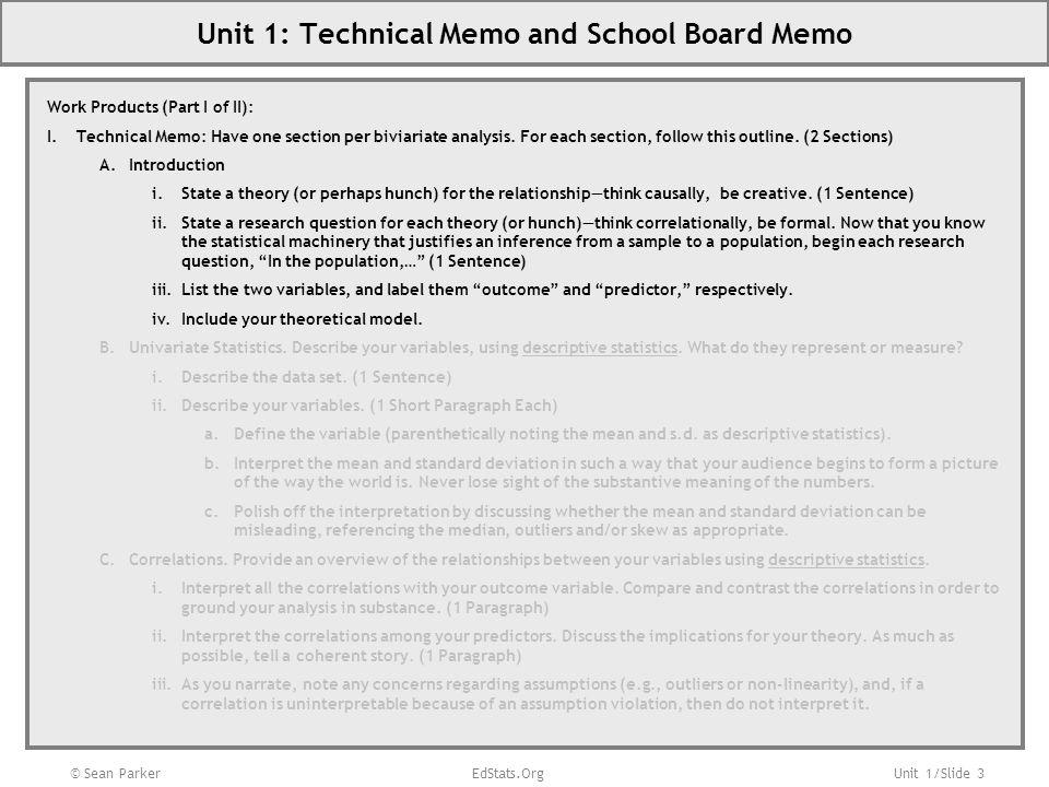 Unit 1: Technical Memo and School Board Memo