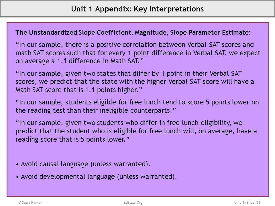 Unit 1 Appendix: Key Interpretations