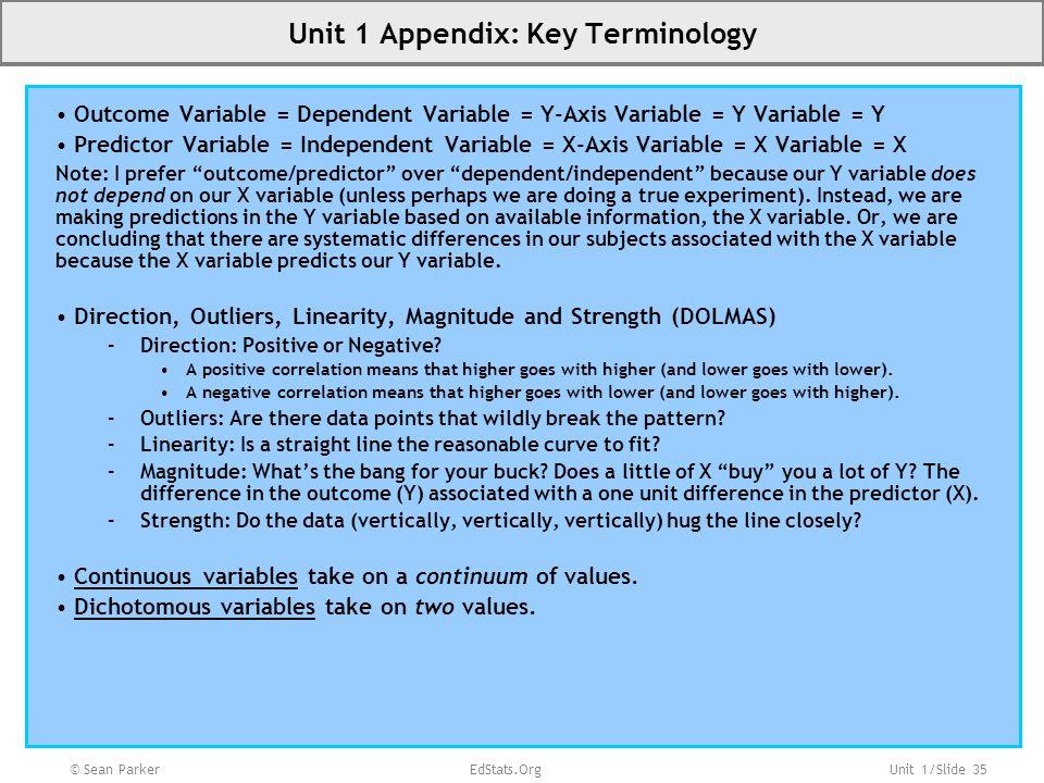 Unit 1 Appendix: Key Terminology