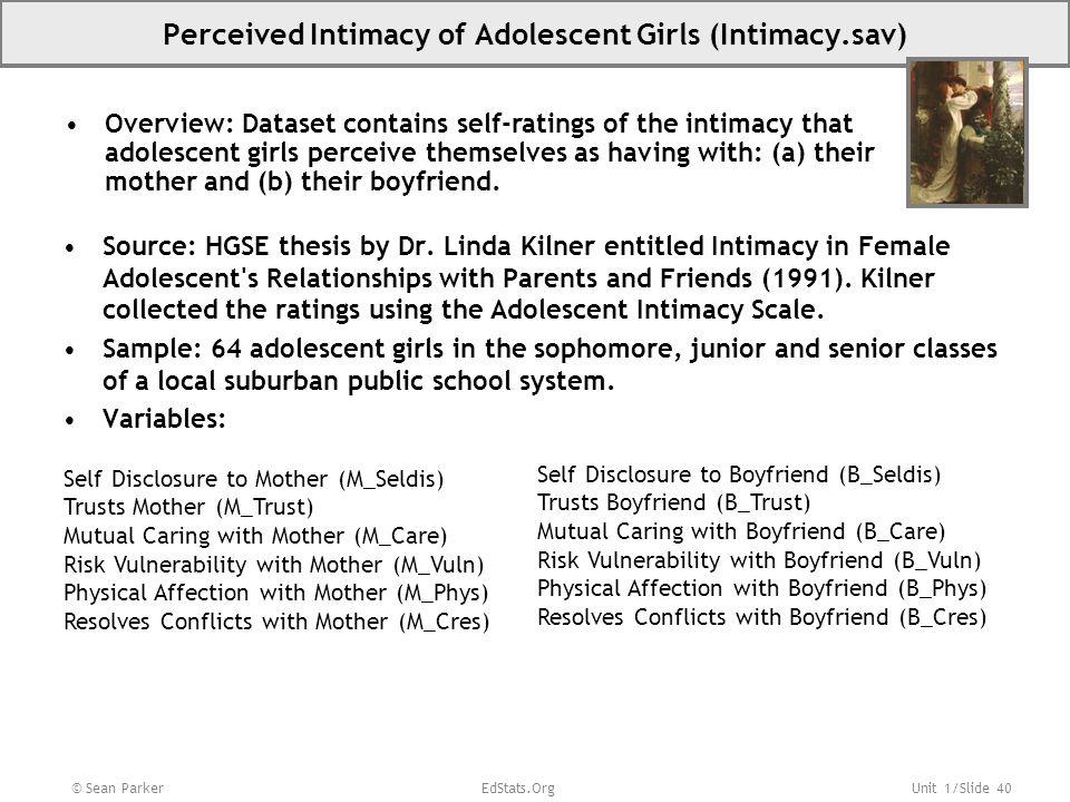 Perceived Intimacy of Adolescent Girls (Intimacy.sav)