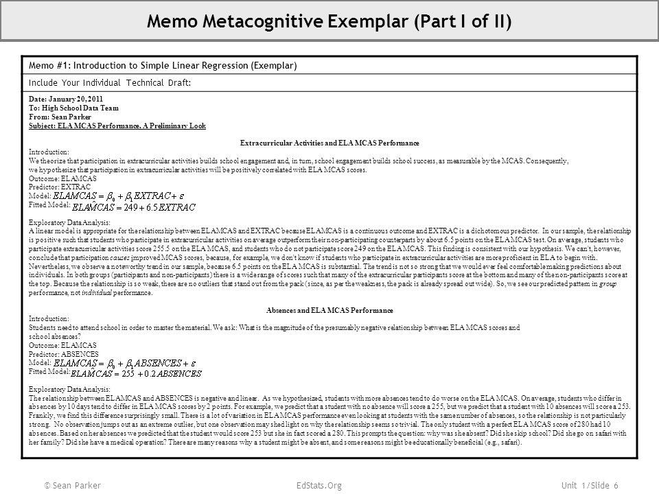 Memo Metacognitive Exemplar (Part I of II)