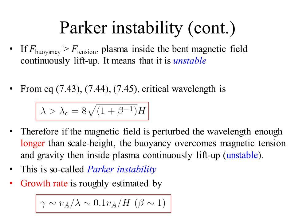Parker instability (cont.)